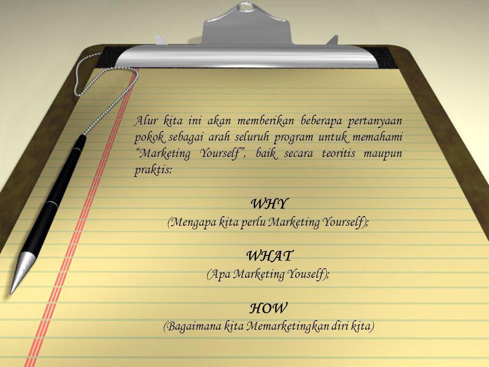 "Alur kita ini akan memberikan beberapa pertanyaan pokok sebagai arah seluruh program untuk memahami ""Marketing Yourself"", baik secara teoritis maupun"