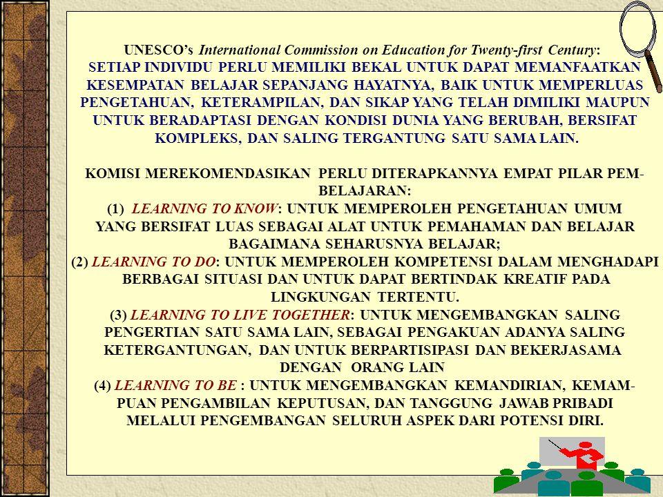 DESAIN INSTR-INTR-01 Bebas dari: [] Kebodohan [] Keterbelakangan [] Kemiskinan Berkembang sesuai harkat dan martabat manusia PEMBELAJAR SEPANJANG HAYAT (LIFELONG LEARNER) MASYARAKAT GEMAR BELAJAR (LEARNING SOCIETY) REFORMASI DAN TRANSFORMASI PENDIDIKAN LEARNING TO KNOW LEARNING TO DO LEARNING TO BE LEARNING TO LIVE TOGETHER PERANAN STRATEGIS GURU/DOSEN/FASILITATOR SEBAGAI PERANCANG PEMBELAJARAN KEMAJUAN BANGSA PERLU: MANUSIA/MASYARAKAT BERKUALITAS