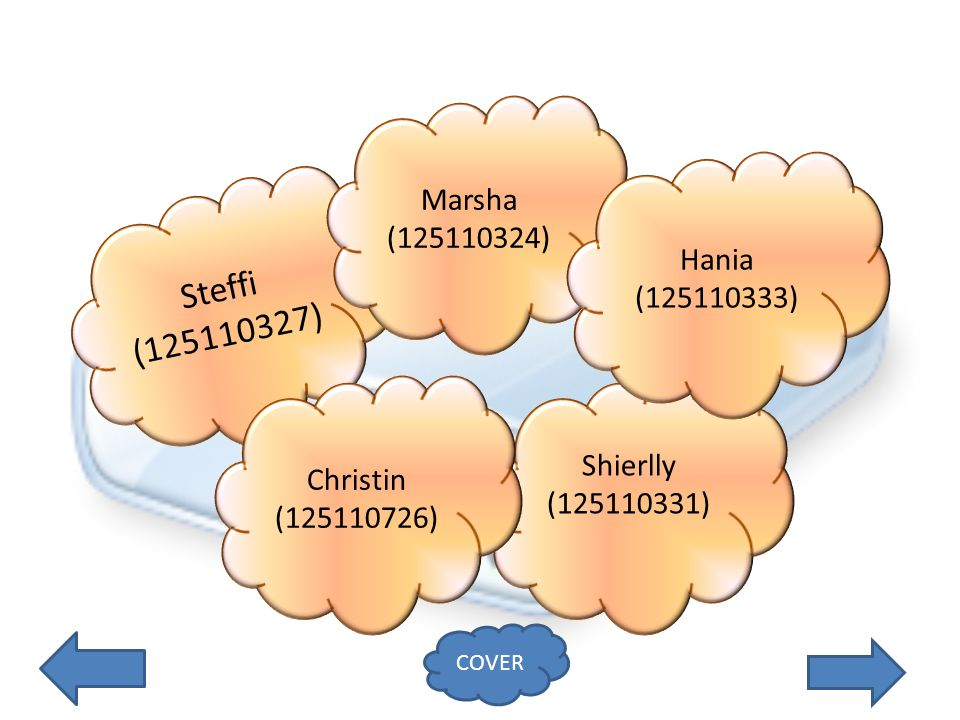 Steffi (125110327) Shierlly (125110331) Marsha (125110324) Christin (125110726) Hania (125110333) COVER