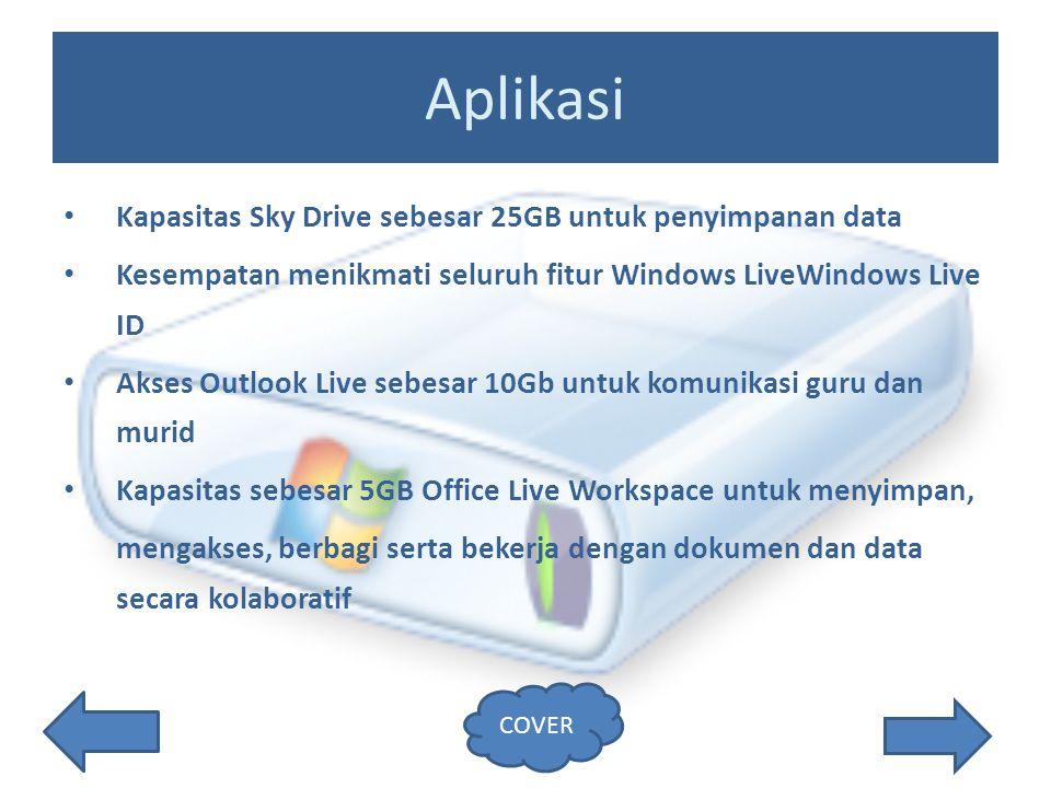 Aplikasi Kapasitas Sky Drive sebesar 25GB untuk penyimpanan data Kesempatan menikmati seluruh fitur Windows LiveWindows Live ID Akses Outlook Live sebesar 10Gb untuk komunikasi guru dan murid Kapasitas sebesar 5GB Office Live Workspace untuk menyimpan, mengakses, berbagi serta bekerja dengan dokumen dan data secara kolaboratif COVER