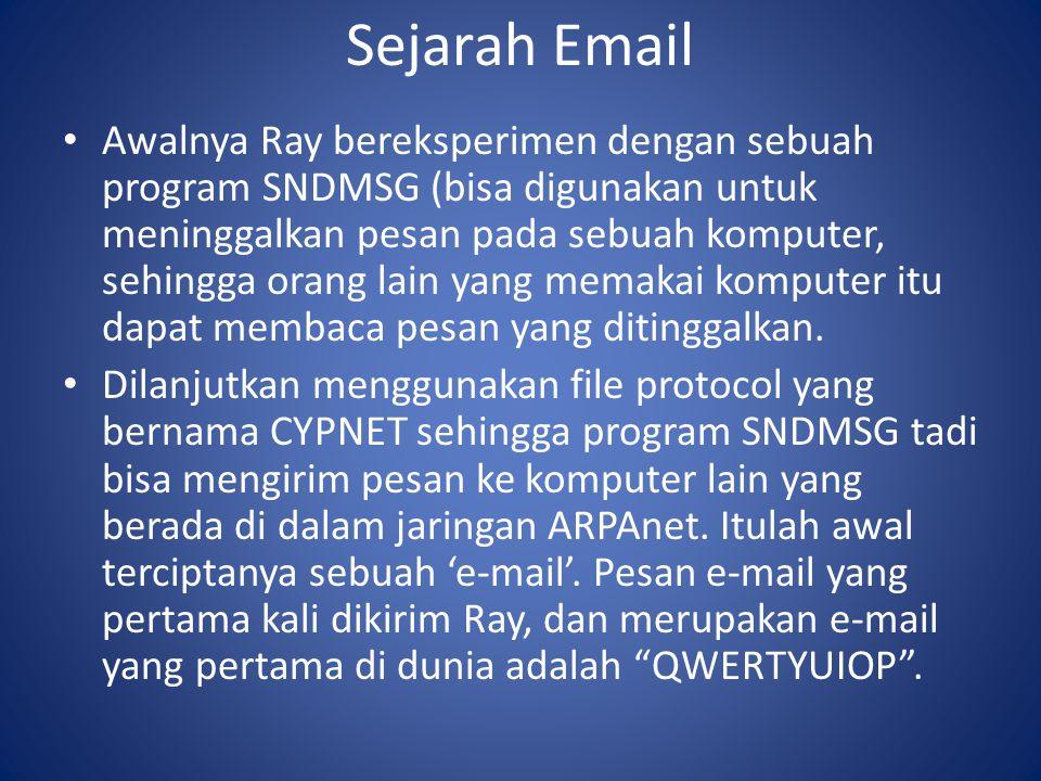 Sejarah Email Awalnya Ray bereksperimen dengan sebuah program SNDMSG (bisa digunakan untuk meninggalkan pesan pada sebuah komputer, sehingga orang lain yang memakai komputer itu dapat membaca pesan yang ditinggalkan.
