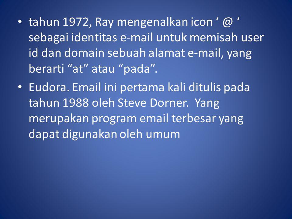 tahun 1972, Ray mengenalkan icon ' @ ' sebagai identitas e-mail untuk memisah user id dan domain sebuah alamat e-mail, yang berarti at atau pada .
