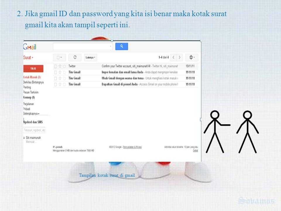 2. Jika gmail ID dan password yang kita isi benar maka kotak surat gmail kita akan tampil seperti ini. Tampilan kotak surat di gmail
