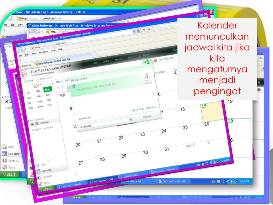 Tampilan awal kalender Tampilan kalender menunjukan jadwal dari hari senin sampai hari jumat Tampilan kalender yang menunjukan jadwal dalam jadwal dalam satu bulan Tampilan kalender yang menunjukan jadwal dalam jadwal dalam satu bulan