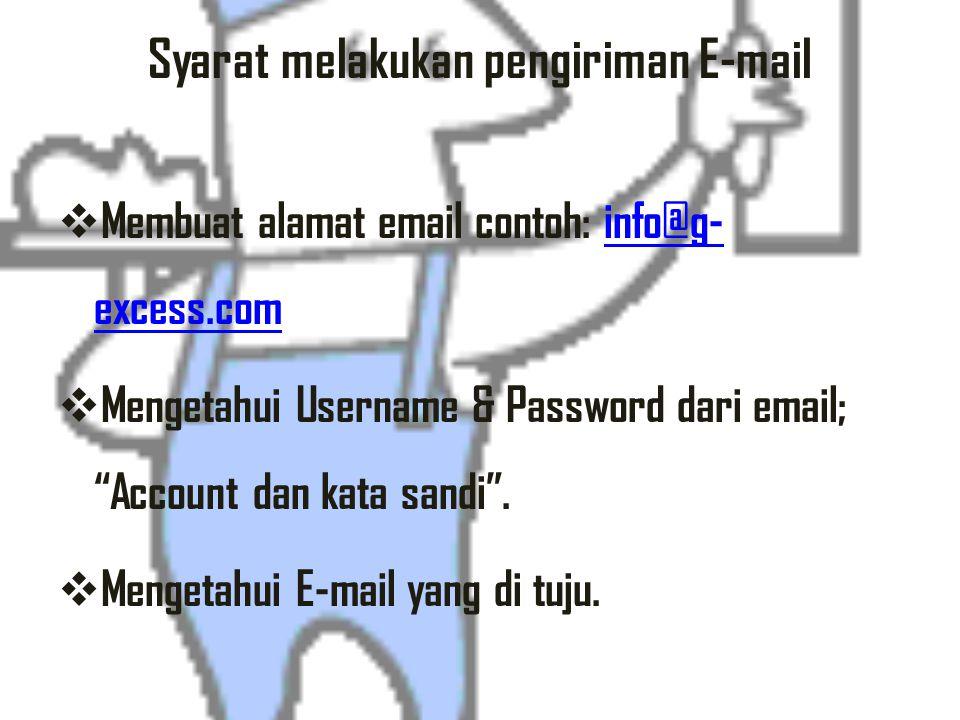 istilah terkait dengan Email Webmail : adalah website yang menyediakan fasilitas email. Alamat Email : adalah alamat yang diberikan oleh webmail. Alam