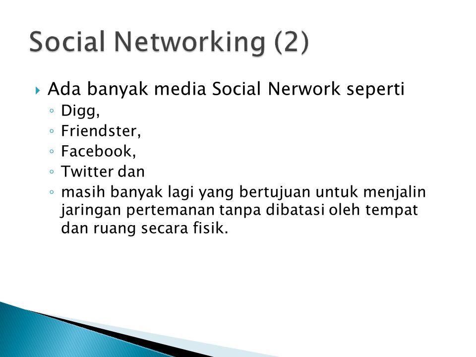  Ada banyak media Social Nerwork seperti ◦ Digg, ◦ Friendster, ◦ Facebook, ◦ Twitter dan ◦ masih banyak lagi yang bertujuan untuk menjalin jaringan p