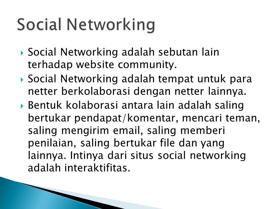  Social Networking adalah sebutan lain terhadap website community.  Social Networking adalah tempat untuk para netter berkolaborasi dengan netter la