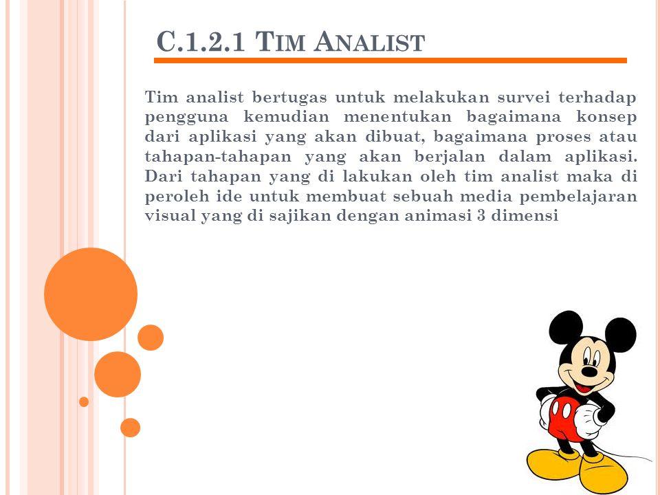 C.1.2.1 T IM A NALIST Tim analist bertugas untuk melakukan survei terhadap pengguna kemudian menentukan bagaimana konsep dari aplikasi yang akan dibuat, bagaimana proses atau tahapan-tahapan yang akan berjalan dalam aplikasi.