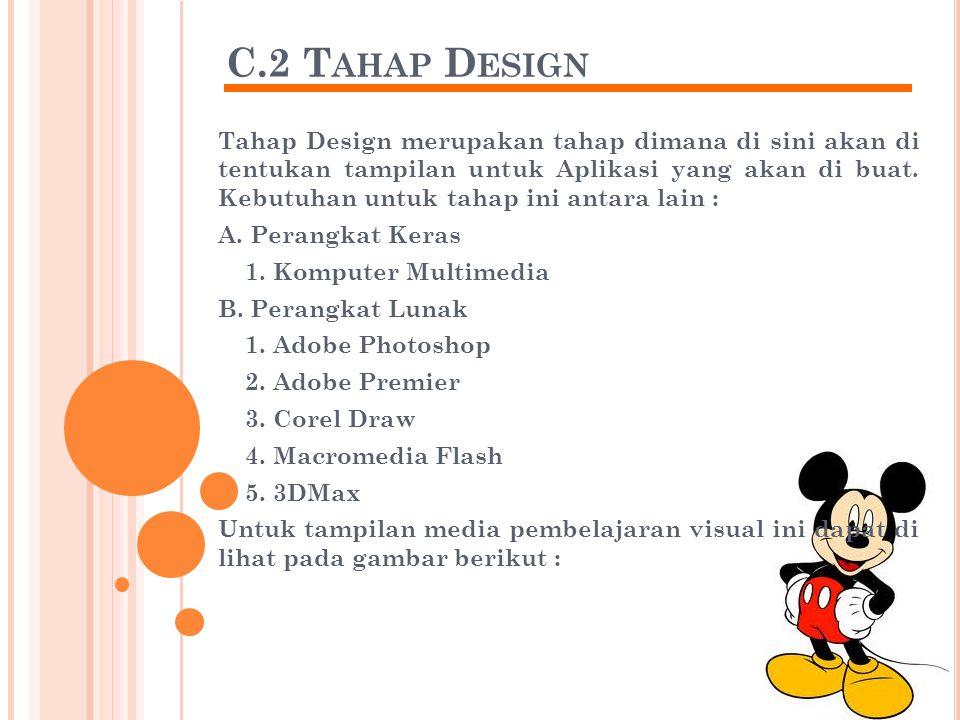 C.2 T AHAP D ESIGN Tahap Design merupakan tahap dimana di sini akan di tentukan tampilan untuk Aplikasi yang akan di buat.