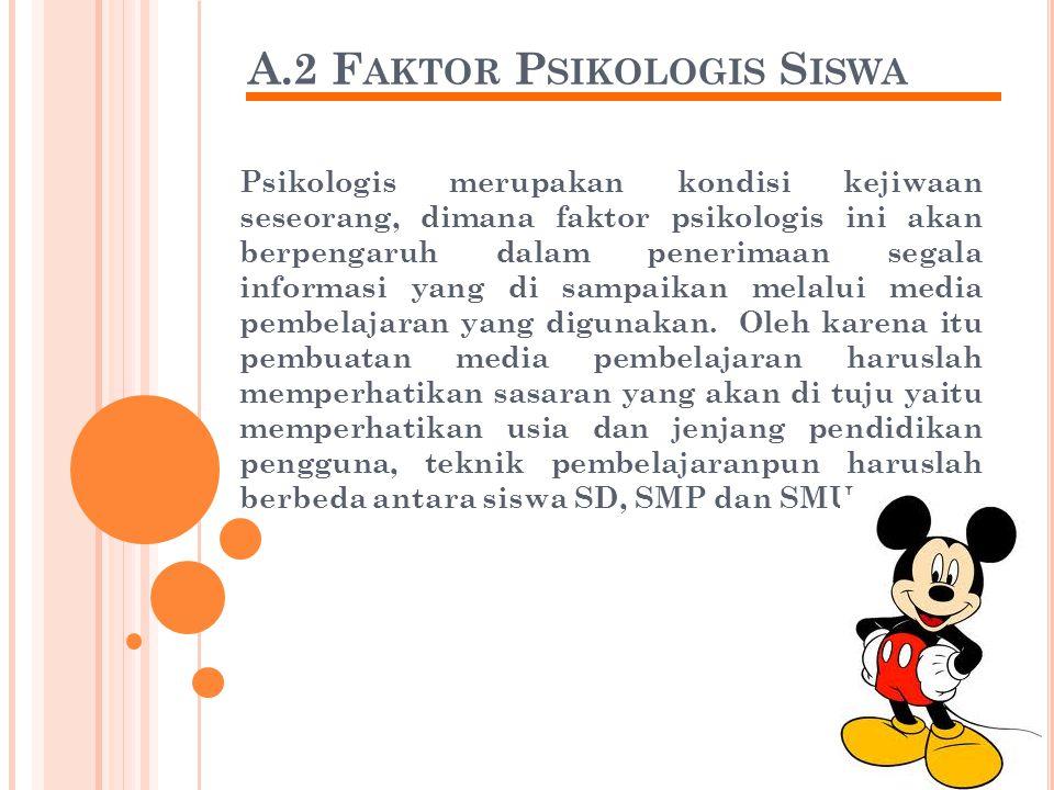 A.2 F AKTOR P SIKOLOGIS S ISWA Psikologis merupakan kondisi kejiwaan seseorang, dimana faktor psikologis ini akan berpengaruh dalam penerimaan segala informasi yang di sampaikan melalui media pembelajaran yang digunakan.