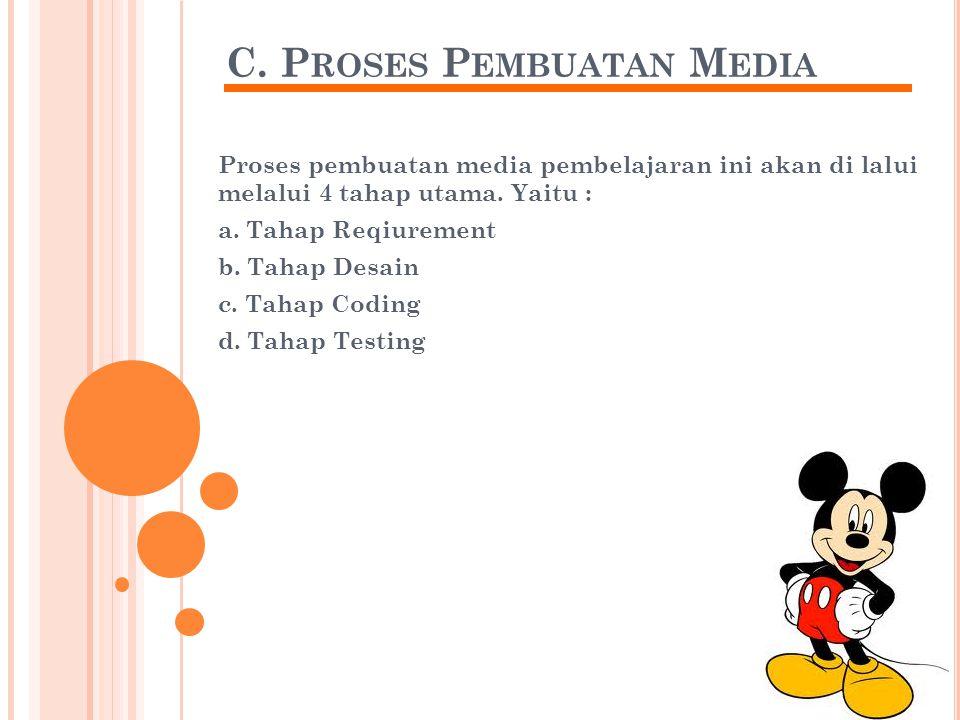 C. P ROSES P EMBUATAN M EDIA Proses pembuatan media pembelajaran ini akan di lalui melalui 4 tahap utama. Yaitu : a. Tahap Reqiurement b. Tahap Desain