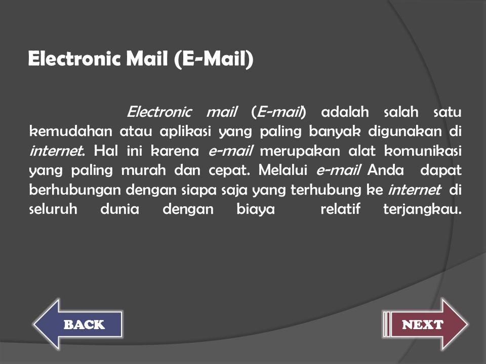 Electronic mail (E-mail) adalah salah satu kemudahan atau aplikasi yang paling banyak digunakan di internet. Hal ini karena e-mail merupakan alat komu