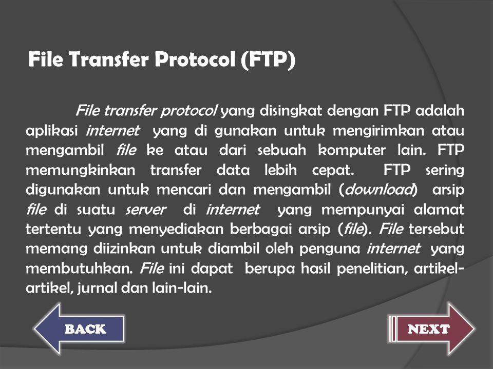 File transfer protocol yang disingkat dengan FTP adalah aplikasi internet yang di gunakan untuk mengirimkan atau mengambil file ke atau dari sebuah ko