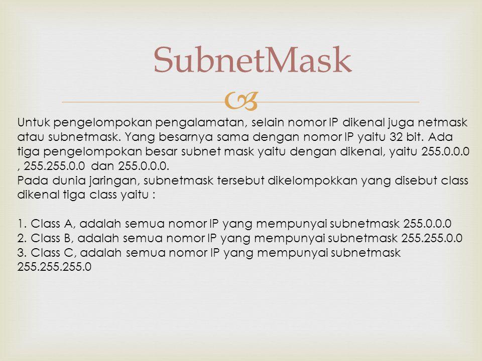  SubnetMask Untuk pengelompokan pengalamatan, selain nomor IP dikenal juga netmask atau subnetmask.