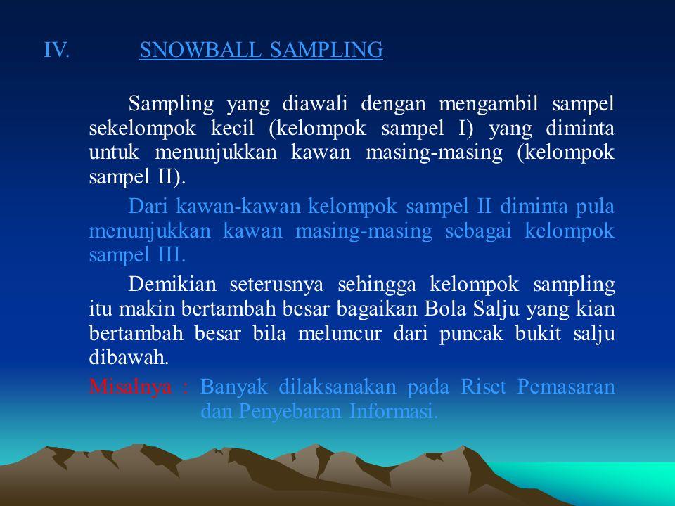 III. QUOTA SAMPLING (Pemilihan Sample Berdasarkan Kuota) Pemilihan sampel secara sengaja berdasarkan kuota (jumlah) tertentu. Untuk setiap kategori da