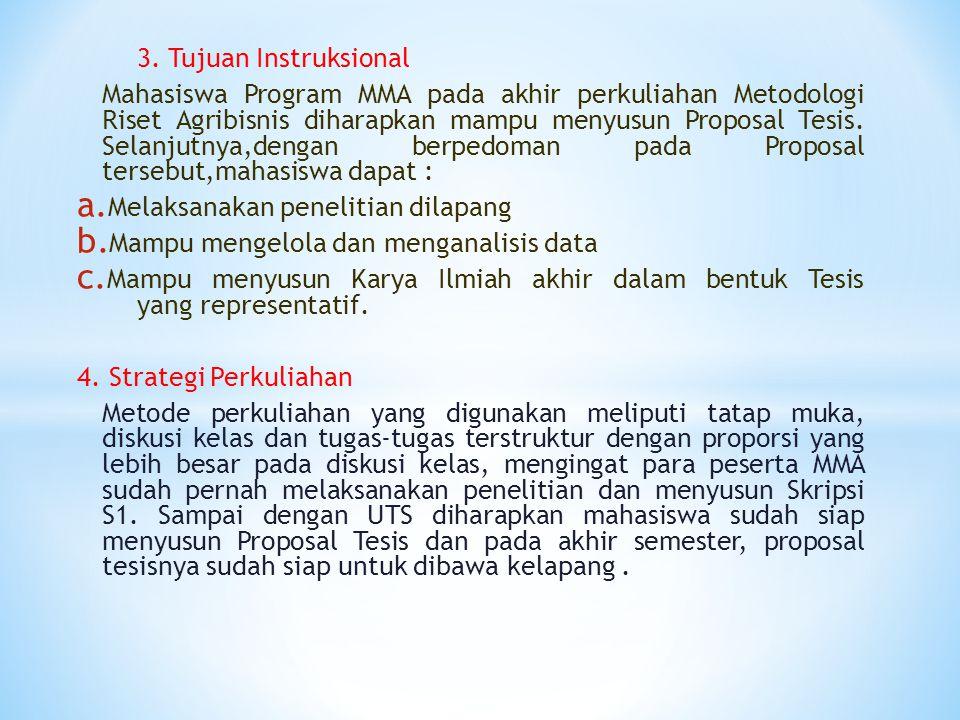 Kontrak Perkuliahan Nama Mata Kuliah : Metodologi Riset Agribisnis Pengajar : 1.