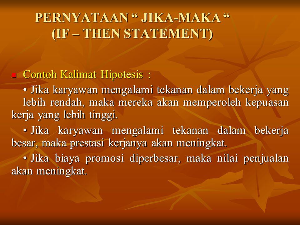 FORMAT KALIMAT HIPOTESIS : Proposisi yang dapat diuji Proposisi yang dapat diuji Pernyataan Jika-Maka Pernyataan Jika-Maka Hipotesis Statistik : Hipotesis Statistik : - Hipotesis Nol versus Hipotesis Alternatif - Hipotesis Nol versus Hipotesis Alternatif - Rumus : Ho : µ1 = µ2 - Rumus : Ho : µ1 = µ2 Ha : µ1  µ2 Ha : µ1  µ2 µ1  µ2 µ1  µ2 µ1  µ2 µ1  µ2