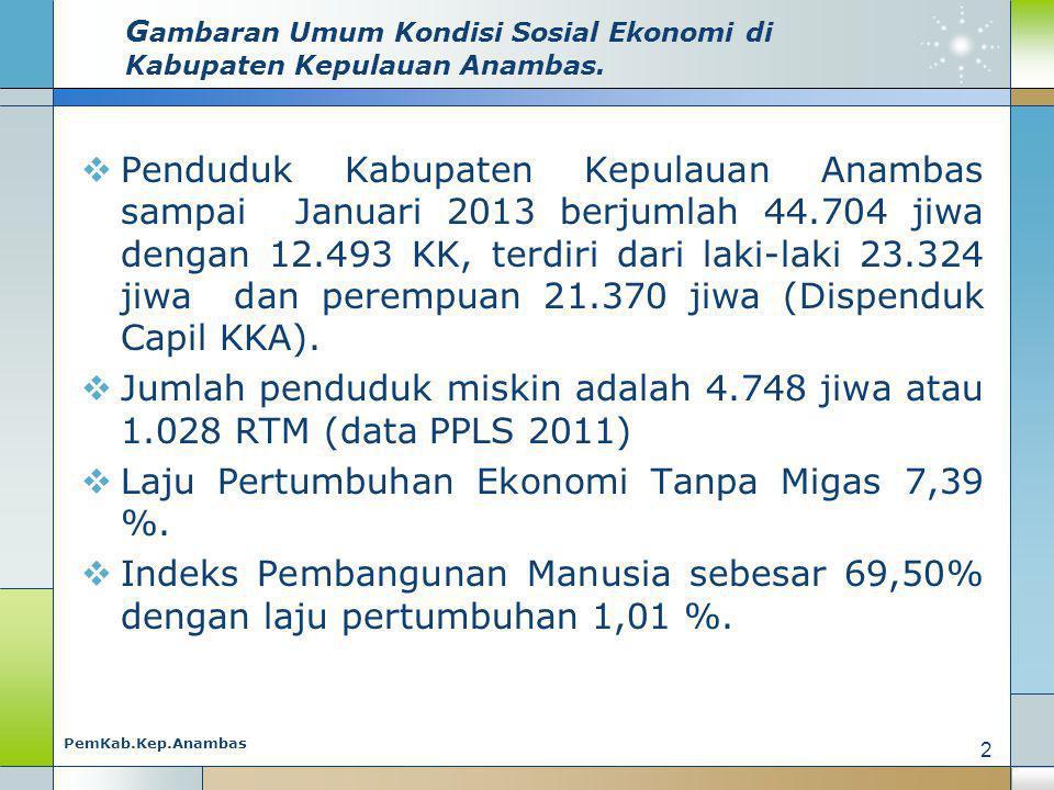 G ambaran Umum Kondisi Sosial Ekonomi di Kabupaten Kepulauan Anambas.