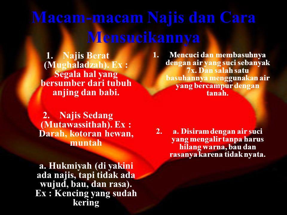 Macam-macam Najis dan Cara Mensucikannya b.Ainiyah (najis yang masih ada wujudnya).