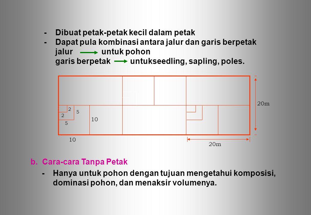 -Dibuat petak-petak kecil dalam petak -Dapat pula kombinasi antara jalur dan garis berpetak jaluruntuk pohon garis berpetakuntukseedling, sapling, pol
