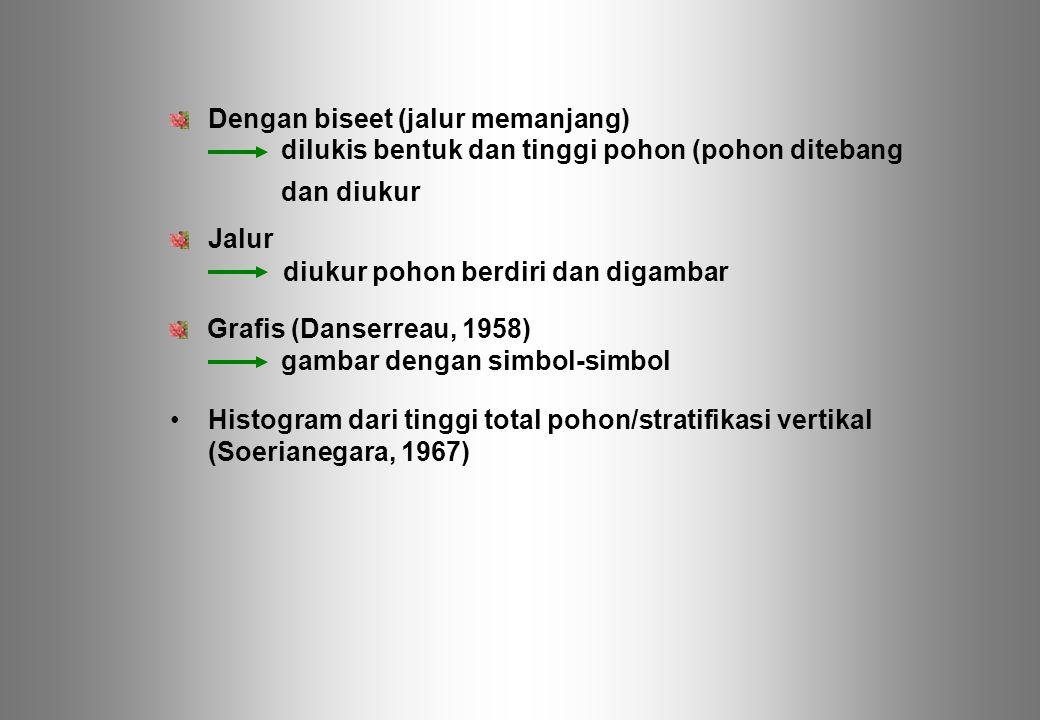 Dengan biseet (jalur memanjang) Jalur Grafis (Danserreau, 1958) Histogram dari tinggi total pohon/stratifikasi vertikal (Soerianegara, 1967) dilukis b