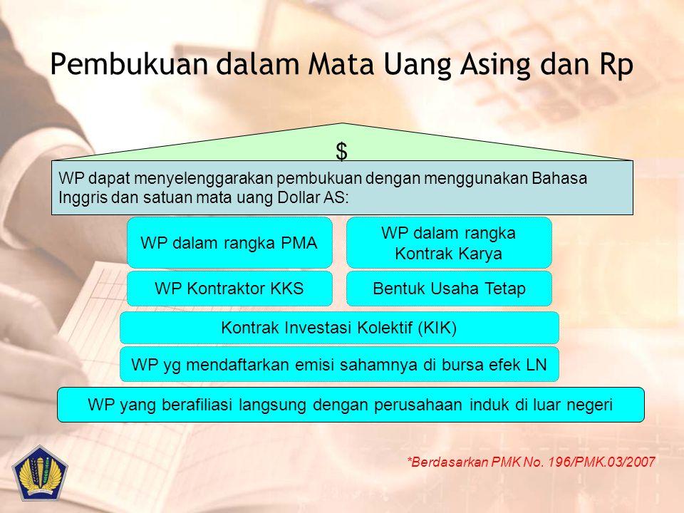Pembukuan dalam Mata Uang Asing dan Rp *Berdasarkan PMK No. 196/PMK.03/2007 WP dapat menyelenggarakan pembukuan dengan menggunakan Bahasa Inggris dan