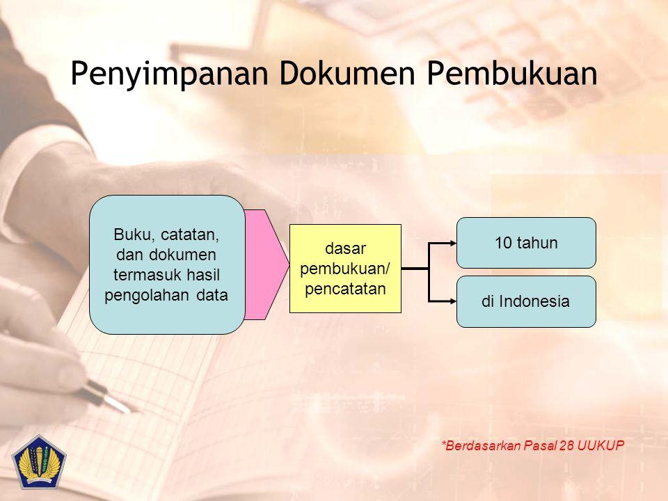 Penyimpanan Dokumen Pembukuan *Berdasarkan Pasal 28 UUKUP Buku, catatan, dan dokumen termasuk hasil pengolahan data dasar pembukuan/ pencatatan 10 tah
