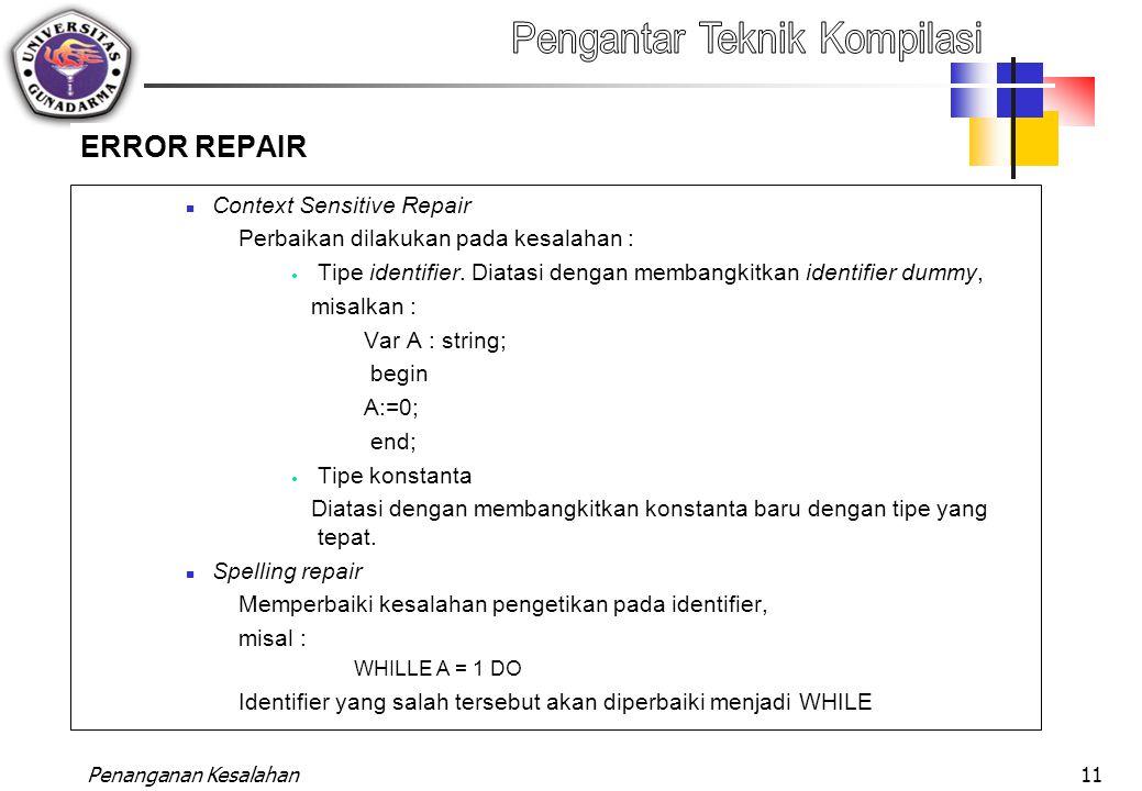 Penanganan Kesalahan11 ERROR REPAIR Context Sensitive Repair Perbaikan dilakukan pada kesalahan :  Tipe identifier. Diatasi dengan membangkitkan iden