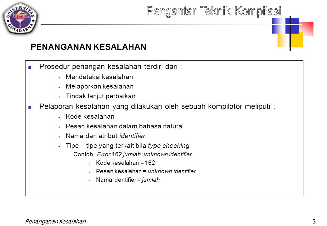 Penanganan Kesalahan3 PENANGANAN KESALAHAN Prosedur penangan kesalahan terdiri dari :  Mendeteksi kesalahan  Melaporkan kesalahan  Tindak lanjut pe