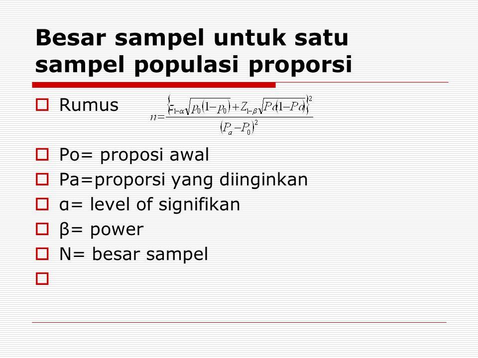 Besar sampel untuk satu sampel populasi proporsi  Rumus  Po= proposi awal  Pa=proporsi yang diinginkan  α= level of signifikan  β= power  N= bes