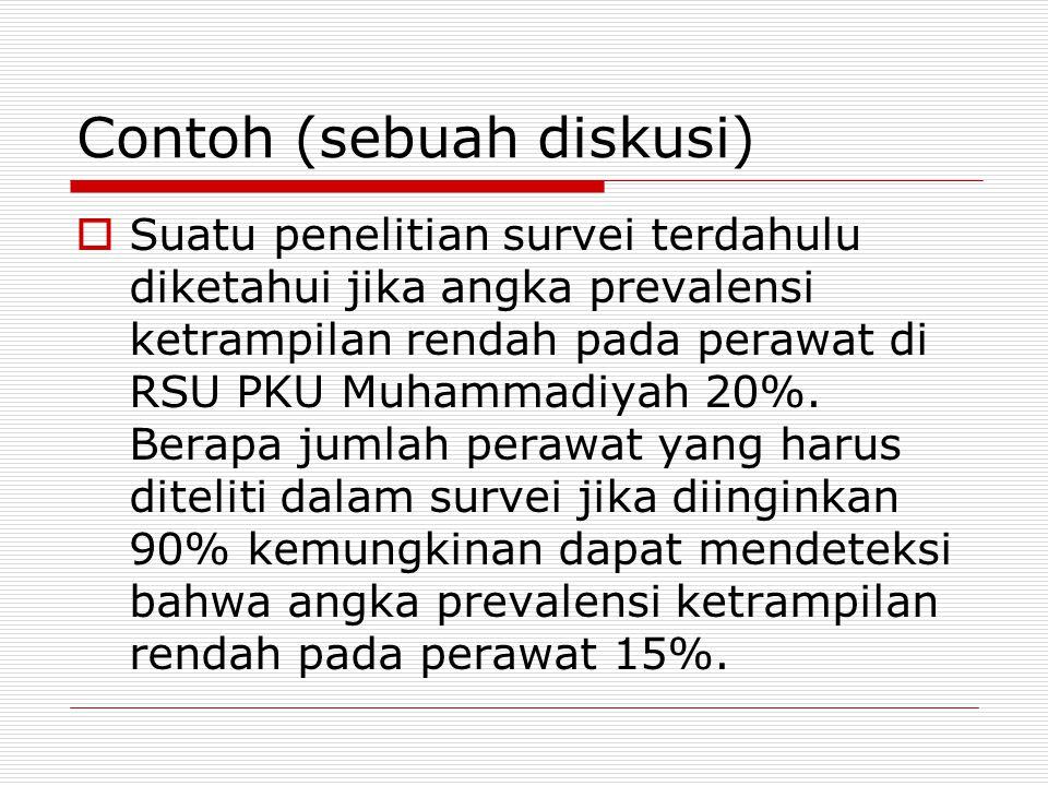 Contoh (sebuah diskusi)  Suatu penelitian survei terdahulu diketahui jika angka prevalensi ketrampilan rendah pada perawat di RSU PKU Muhammadiyah 20