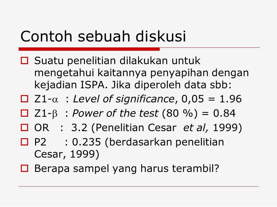 Contoh sebuah diskusi  Suatu penelitian dilakukan untuk mengetahui kaitannya penyapihan dengan kejadian ISPA. Jika diperoleh data sbb:  Z1- : Level