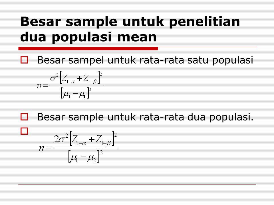 Besar sample untuk penelitian dua populasi mean  Besar sampel untuk rata-rata satu populasi  Besar sample untuk rata-rata dua populasi. 