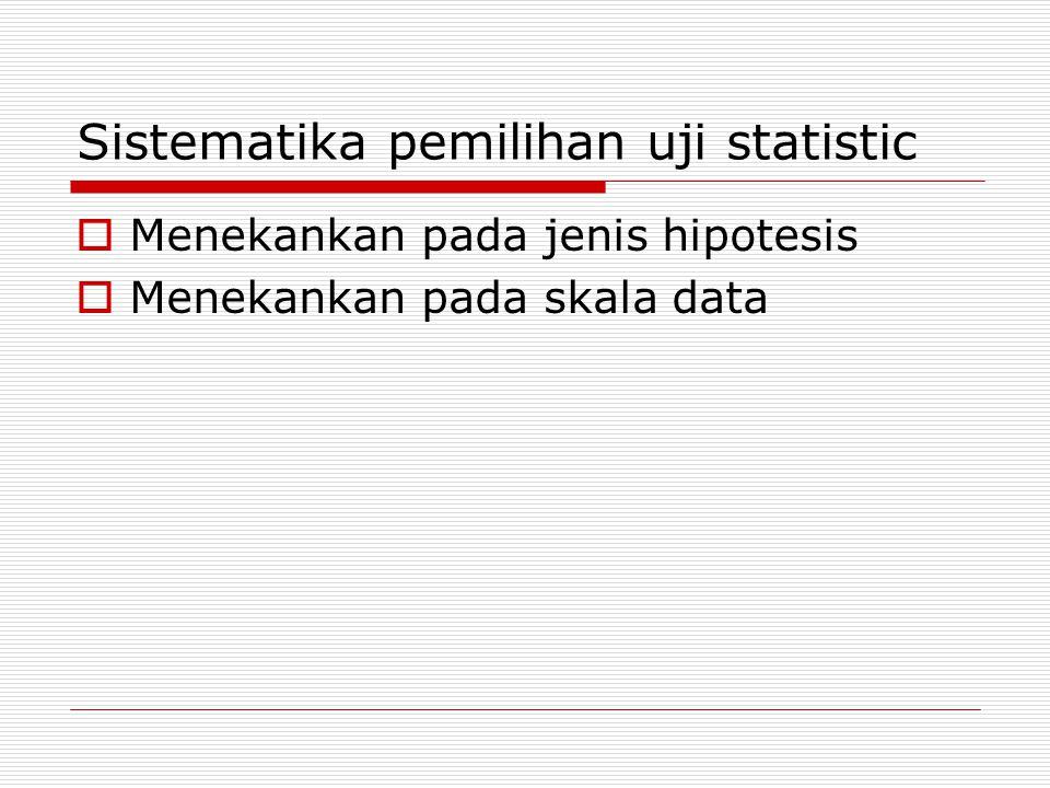 Sistematika pemilihan uji statistic  Menekankan pada jenis hipotesis  Menekankan pada skala data