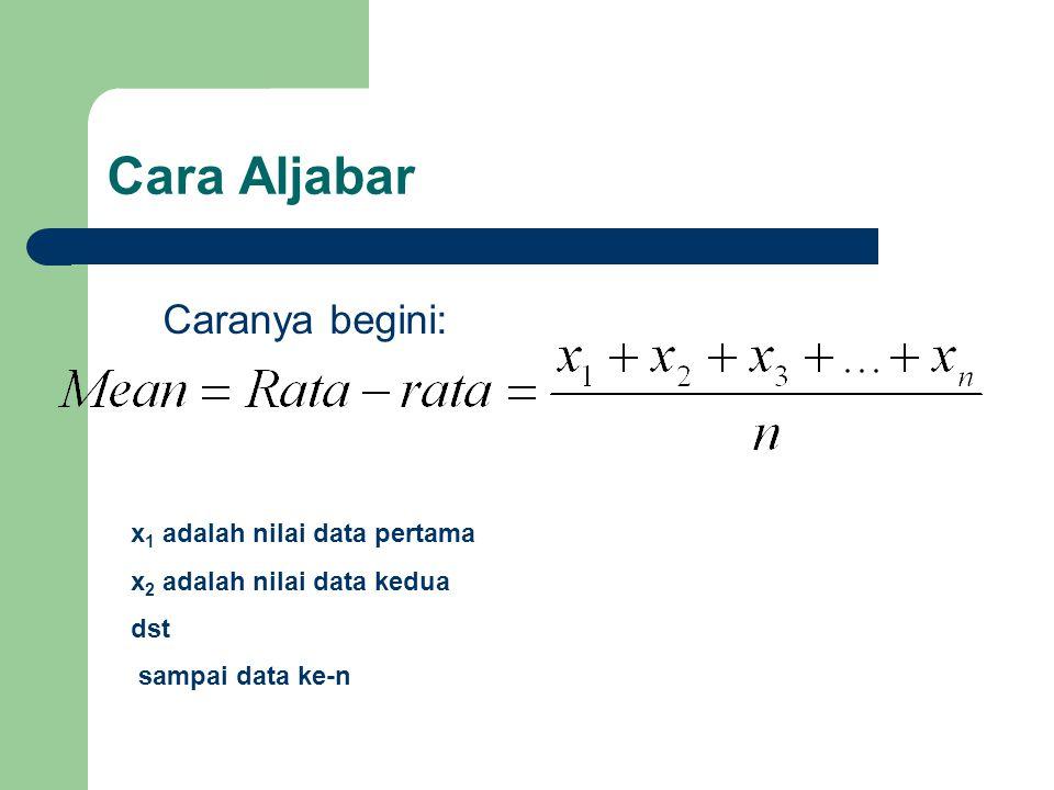 Cara Aljabar Caranya begini: x 1 adalah nilai data pertama x 2 adalah nilai data kedua dst sampai data ke-n