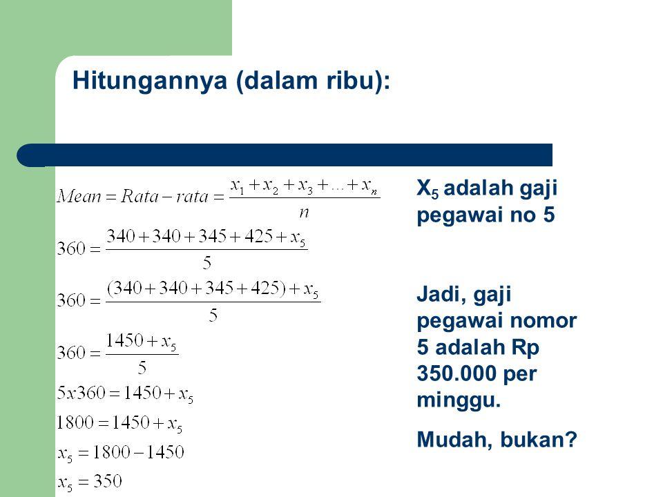 Hitungannya (dalam ribu): X 5 adalah gaji pegawai no 5 Jadi, gaji pegawai nomor 5 adalah Rp 350.000 per minggu.