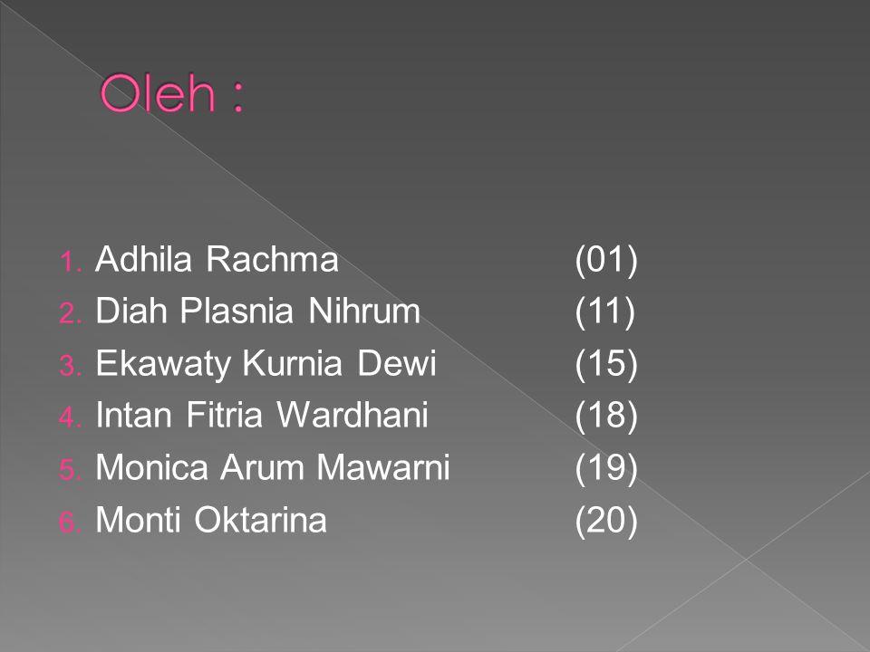 1.Adhila Rachma(01) 2. Diah Plasnia Nihrum (11) 3.