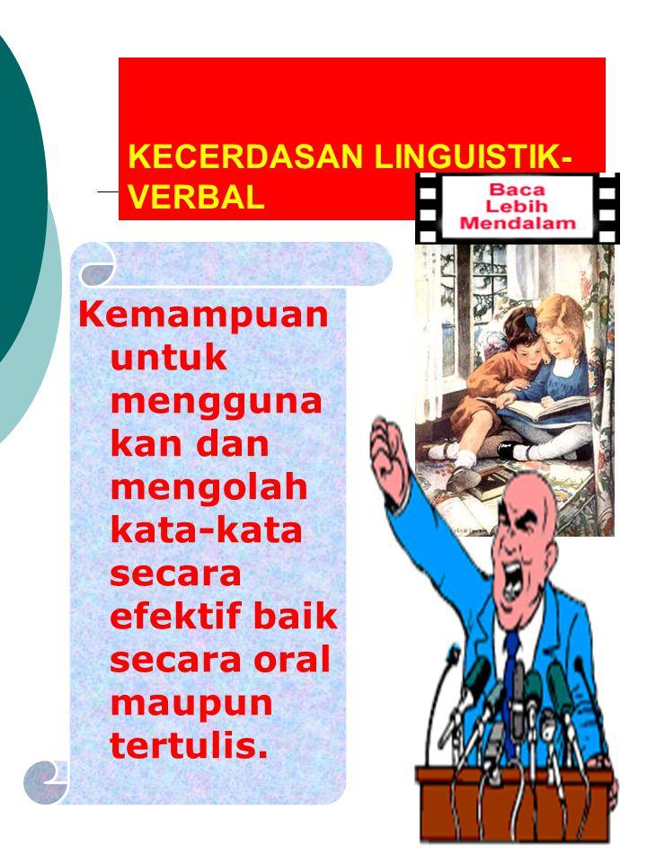 KECERDASAN LINGUISTIK- VERBAL Kemampuan untuk mengguna kan dan mengolah kata-kata secara efektif baik secara oral maupun tertulis.