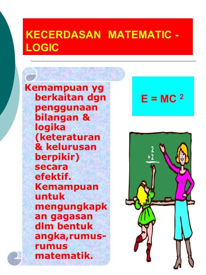KECERDASAN MATEMATIC - LOGIC Kemampuan yg berkaitan dgn penggunaan bilangan & logika (keteraturan & kelurusan berpikir) secara efektif. Kemampuan untu