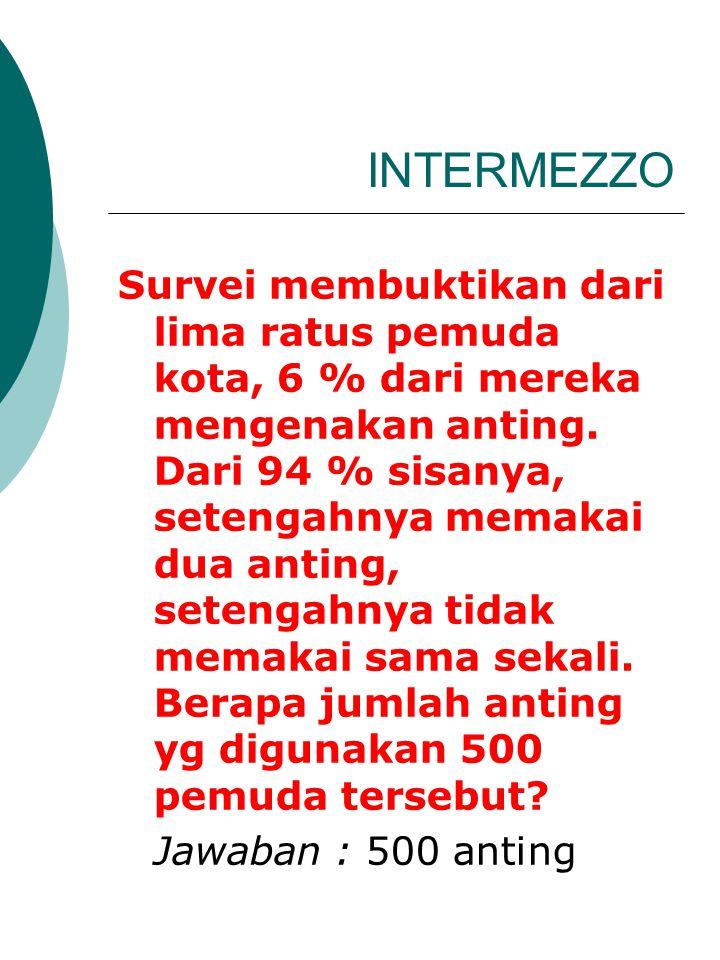 INTERMEZZO Survei membuktikan dari lima ratus pemuda kota, 6 % dari mereka mengenakan anting. Dari 94 % sisanya, setengahnya memakai dua anting, seten