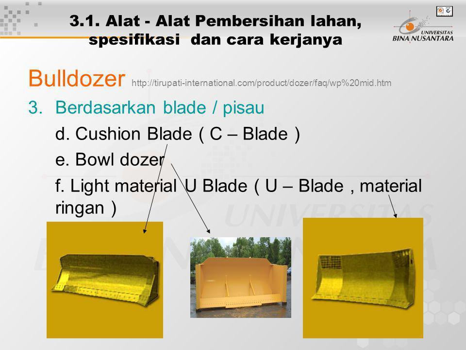 3.1. Alat - Alat Pembersihan lahan, spesifikasi dan cara kerjanya Bulldozer http://tirupati-international.com/product/dozer/faq/wp%20mid.htm 3.Berdasa