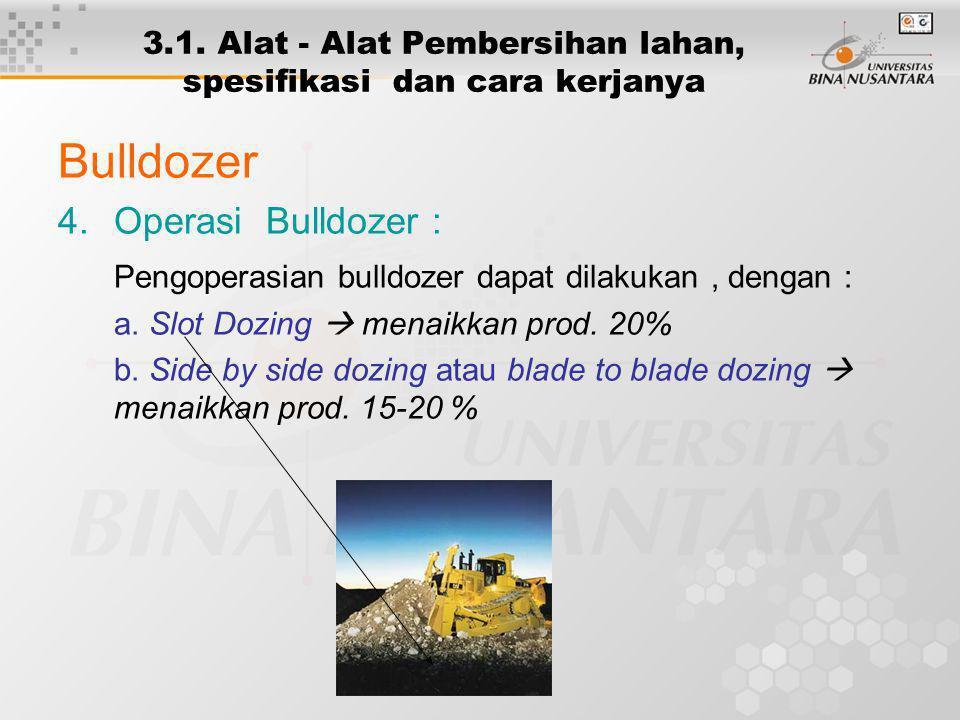 3.1. Alat - Alat Pembersihan lahan, spesifikasi dan cara kerjanya Bulldozer 4.Operasi Bulldozer : Pengoperasian bulldozer dapat dilakukan, dengan : a.