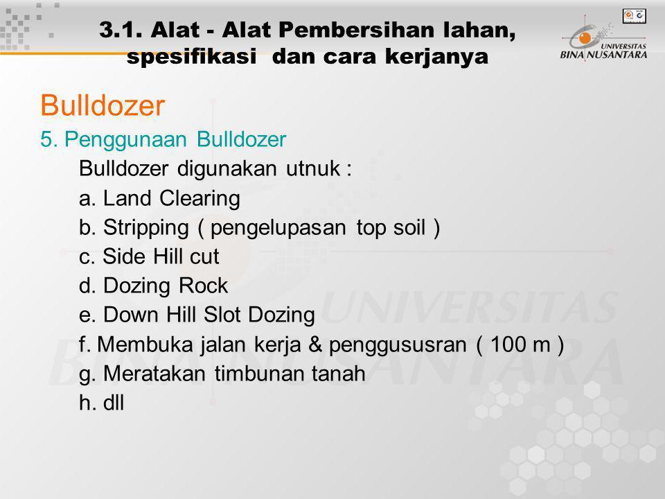 3.1. Alat - Alat Pembersihan lahan, spesifikasi dan cara kerjanya Bulldozer 5. Penggunaan Bulldozer Bulldozer digunakan utnuk : a. Land Clearing b. St