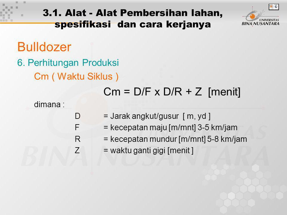 3.1. Alat - Alat Pembersihan lahan, spesifikasi dan cara kerjanya Bulldozer 6. Perhitungan Produksi Cm ( Waktu Siklus ) Cm = D/F x D/R + Z [menit] dim
