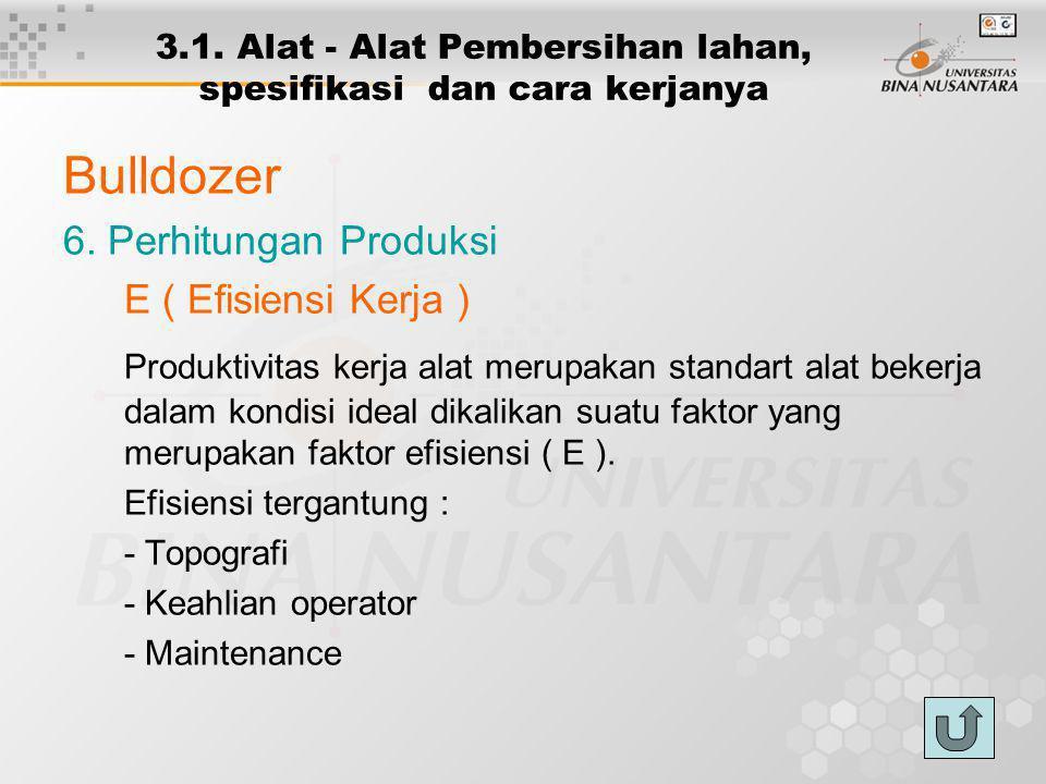 3.1. Alat - Alat Pembersihan lahan, spesifikasi dan cara kerjanya Bulldozer 6. Perhitungan Produksi E ( Efisiensi Kerja ) Produktivitas kerja alat mer