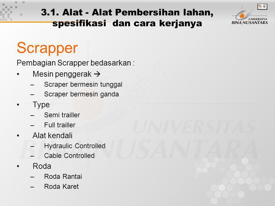 3.1. Alat - Alat Pembersihan lahan, spesifikasi dan cara kerjanya Scrapper Pembagian Scrapper bedasarkan : Mesin penggerak  –Scraper bermesin tunggal