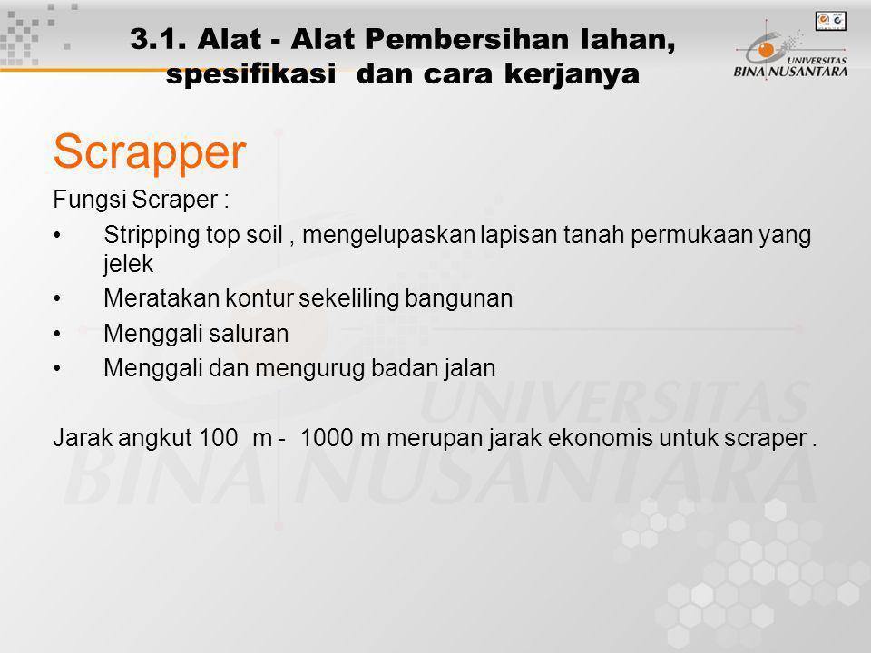 3.1. Alat - Alat Pembersihan lahan, spesifikasi dan cara kerjanya Scrapper Fungsi Scraper : Stripping top soil, mengelupaskan lapisan tanah permukaan