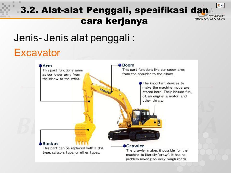 3.2. Alat-alat Penggali, spesifikasi dan cara kerjanya Jenis- Jenis alat penggali : Excavator
