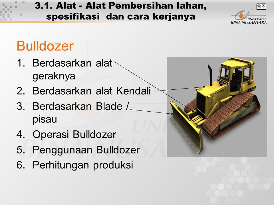 3.1. Alat - Alat Pembersihan lahan, spesifikasi dan cara kerjanya Bulldozer 1.Berdasarkan alat geraknya 2.Berdasarkan alat Kendali 3.Berdasarkan Blade
