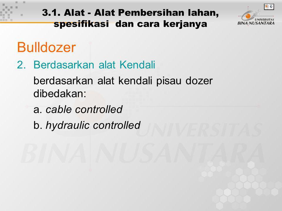 3.1. Alat - Alat Pembersihan lahan, spesifikasi dan cara kerjanya Bulldozer 2.Berdasarkan alat Kendali berdasarkan alat kendali pisau dozer dibedakan: